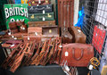 Old leather briefcases on street market stall Royalty Free Stock Photography