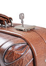 Old leather suitcase with key Stock Photos