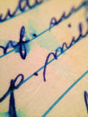 Old letter a detail photo of an handwritten with running ink Royalty Free Stock Image