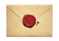 Old letter envelope with wax seal isolated Royalty Free Stock Photo