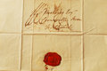 Old letter with red wax seal correspondence from the s landscape Royalty Free Stock Photo