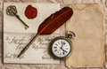 Old letter with wax seal vintage background quill clock and key Stock Images