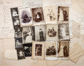 Old letters and antique family photos parents grandfather grandmother children nostalgic vintage pictures from ca Stock Photo