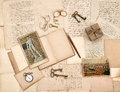 Old letters vintage accessories diary and photos from florence nostalgic sentimental background Royalty Free Stock Photos