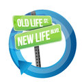 Old life versus new life road sign cycle illustration design over white Stock Images