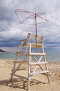 Old lifeguard tower on beach in anticipation of summer Royalty Free Stock Photos