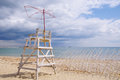 Old lifeguard tower on beach in anticipation of summer Stock Photography