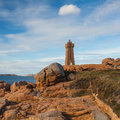 Old lighthouse on the impressive coast in brittany cote de granit rose Stock Photography