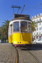 Old lisbon yellow tram iconic year lisbon's portugal Stock Photography