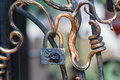 Old lock and forged fence elements