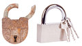 Old lock and new lock Royalty Free Stock Photo