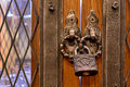 The old lock on a wooden door for print