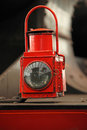 Old locomotive floodlight red close up Royalty Free Stock Photo