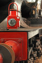 Old locomotive floodlight red close up Royalty Free Stock Photography