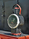 Old locomotive o floodlight steam detail Stock Photos