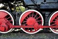 Old locomotive red wheels Stock Images