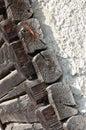 Old log cabin corner detail wood and plaster Royalty Free Stock Image