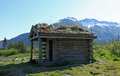 Old log shed the at alaska s wildlife conservation center Royalty Free Stock Photos