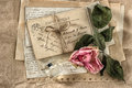 Old love letters, perfume and dried rose flower. scrapbook paper Royalty Free Stock Photo