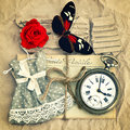 Old love mails, vintage pocket watch, red rose flower and butter