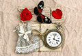 Old love post cards and red rose flower vintage clock valentine heart butterfly nostalgic romantik background Royalty Free Stock Image