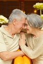 Old loving couple nice portrait closeup at home Stock Photo