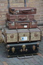 Old luggage and suit cases at the train station Stock Photography