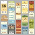 Old luggage tag or label with flight register symbol. Isolated vintage baggage tags and tickets vector set