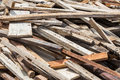 Old lumber in construction site pile of and dirty Stock Images