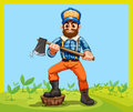 An old lumberjack holding an axe while stepping at the stump illustration of Royalty Free Stock Photo