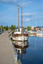 The old Lydia yacht in the harbor of Lappeenranta in the sunny summer day. Finland
