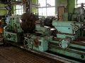 The old machine tool at a repair factory Stock Photos