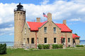Old Mackinac Point Lighthouse in Mackinaw City Royalty Free Stock Photo