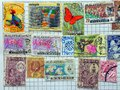 Old Malayan Postage Stamps Royalty Free Stock Photo