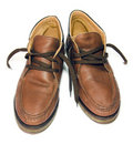 Old male half boot brown leather shoe Royalty Free Stock Photo