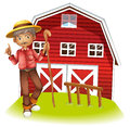 An old man in the barn illustration of Royalty Free Stock Images