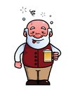 Old man being drunk holding a beer while Stock Photo