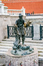 Old man and fish sculpture in moscow russia Stock Photo
