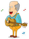 Old man with guitar illustration of an Royalty Free Stock Images