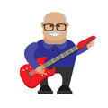 Old man guitarist illustration of on white background Royalty Free Stock Image