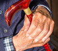 Old man hands with stick Royalty Free Stock Image