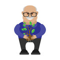 Old man holds a sprout of tree illustration at laptop Royalty Free Stock Photo