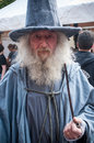 Old man with medieval costume and beard at the steam punk exhibition in Kaysersberg village