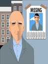 Old man missing his youth sad looking at a poster with a photo of him young and happy vector illustration Stock Photo