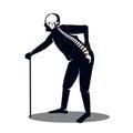 Old man pain at his knee.illustratir