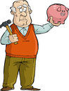 Old man with piggy bank the thought of broken Stock Image