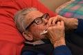 Old man play harmonica Royalty Free Stock Photo