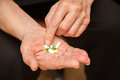 Old man's hands with pills Royalty Free Stock Photo