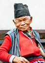 Old man sit in the retirement home kathmandu nepal founded by mother teresa rajrajeshwari temple near pashupatinath temple Royalty Free Stock Photos