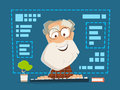 Old man sitting front computer monitor Online education Royalty Free Stock Photo